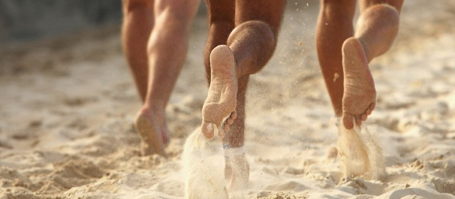 Barefoot Running on the Sand