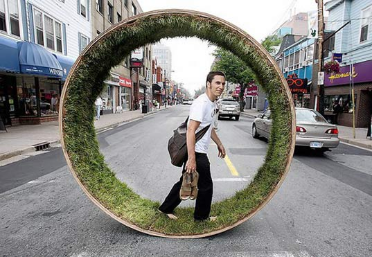Barefoot Running On A Grass Wheel